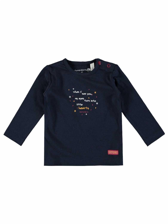 Bampidano Shirt Lange Mouw  - Donkerblauw - Katoen/elasthan