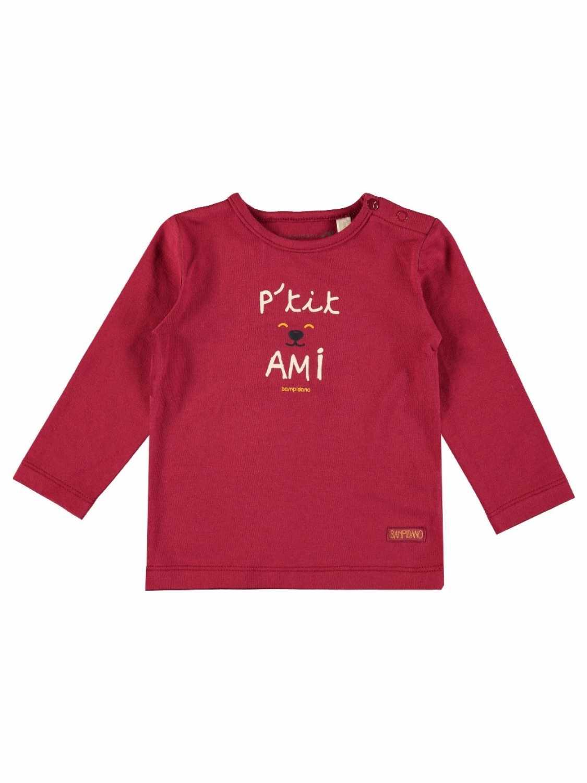 Bampidano Shirt Lange Mouw  - Bordeaux Rood - Katoen/elasthan